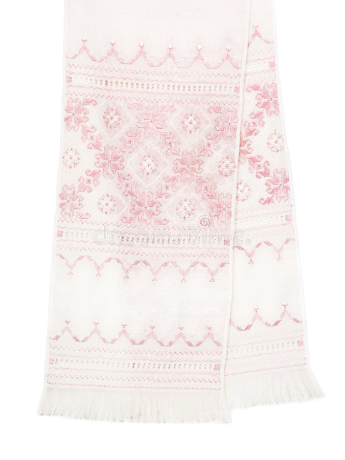 Embroidered towel. Traditional Ukrainian embroidered towel isolated on a white background. This kind of towels is often used at wedding ceremonies stock images