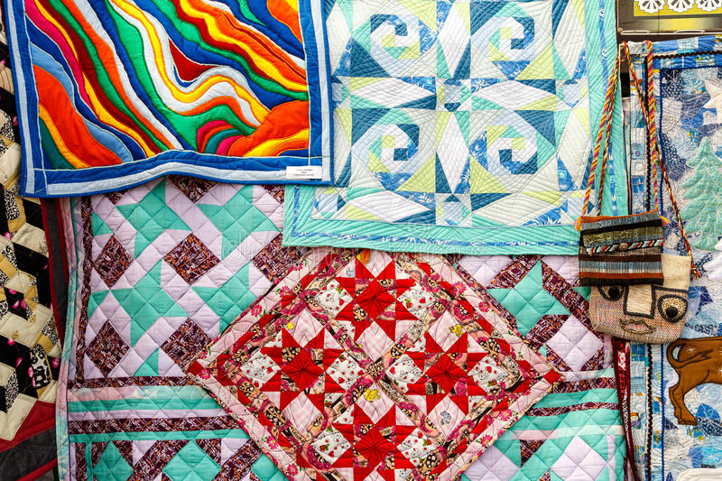 Embroidered towels and handkerchiefs. With Belarusian national ornament stock images