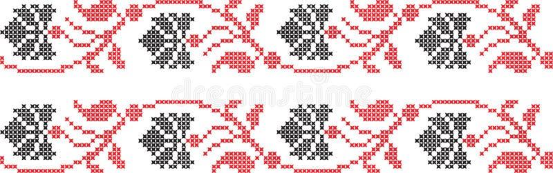 Embroidered Ukrainian national pattern cross. Embroidered Ukrainian and Russian national pattern cross stock illustration
