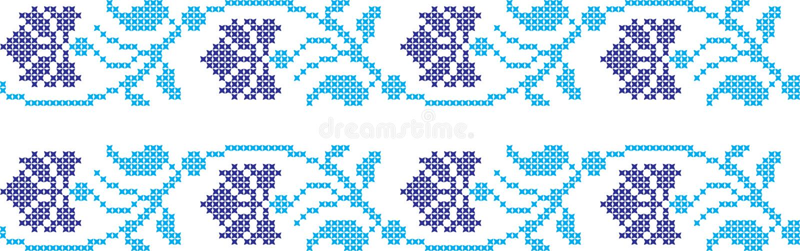 Embroidered Ukrainian national pattern cross. Embroidered Ukrainian and Russian national pattern cross vector illustration