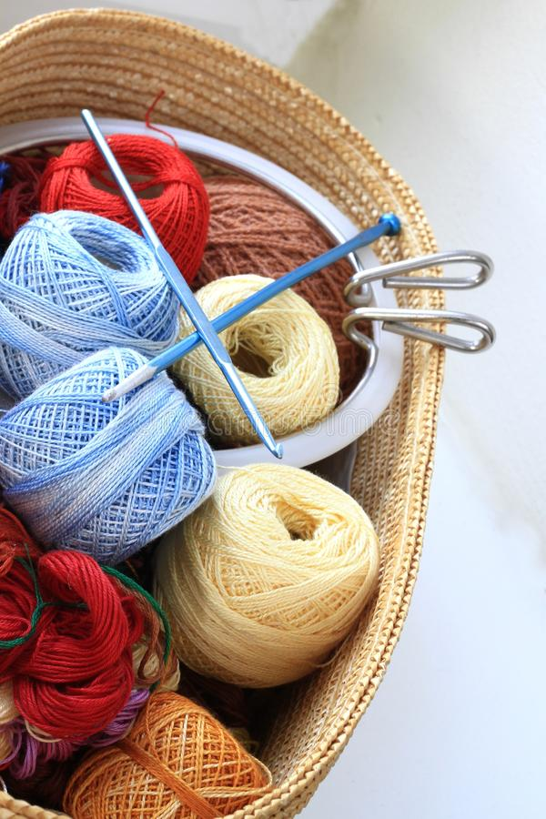 Embroidery. Image of colorful threads and other tools used for embroidery royalty free stock images