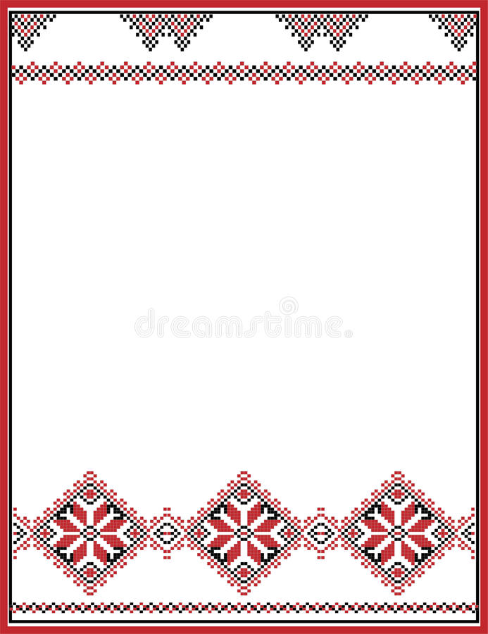 Embroidery abstract template frame for your. Design in folk style stock illustration