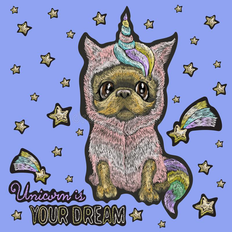 Embroidery baby patch with cute dog in unicorn costume. royalty free illustration
