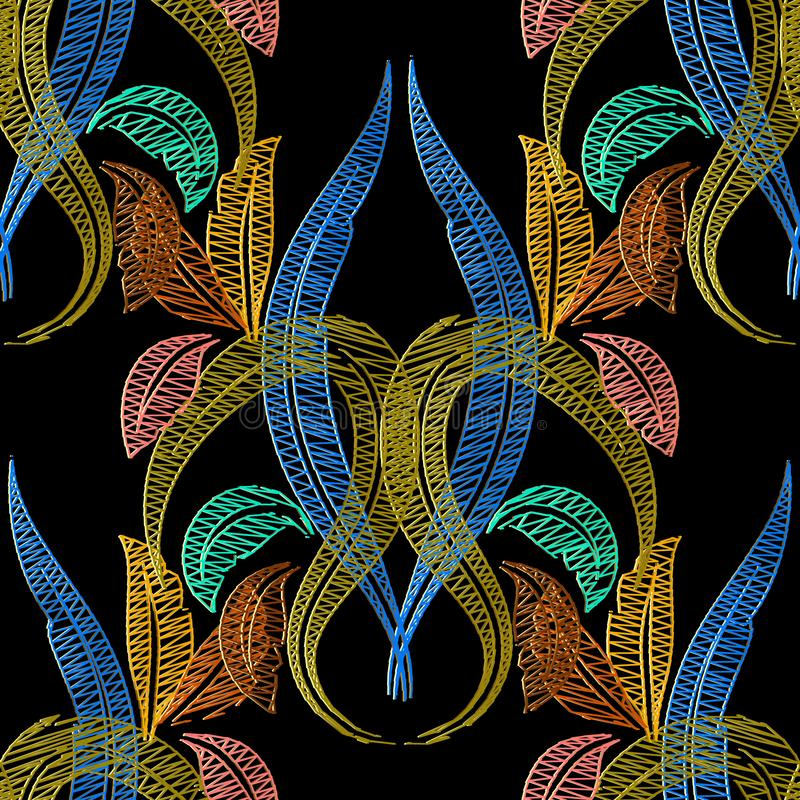 Embroidery Baroque vector seamless pattern. Tapestry textured vi royalty free illustration