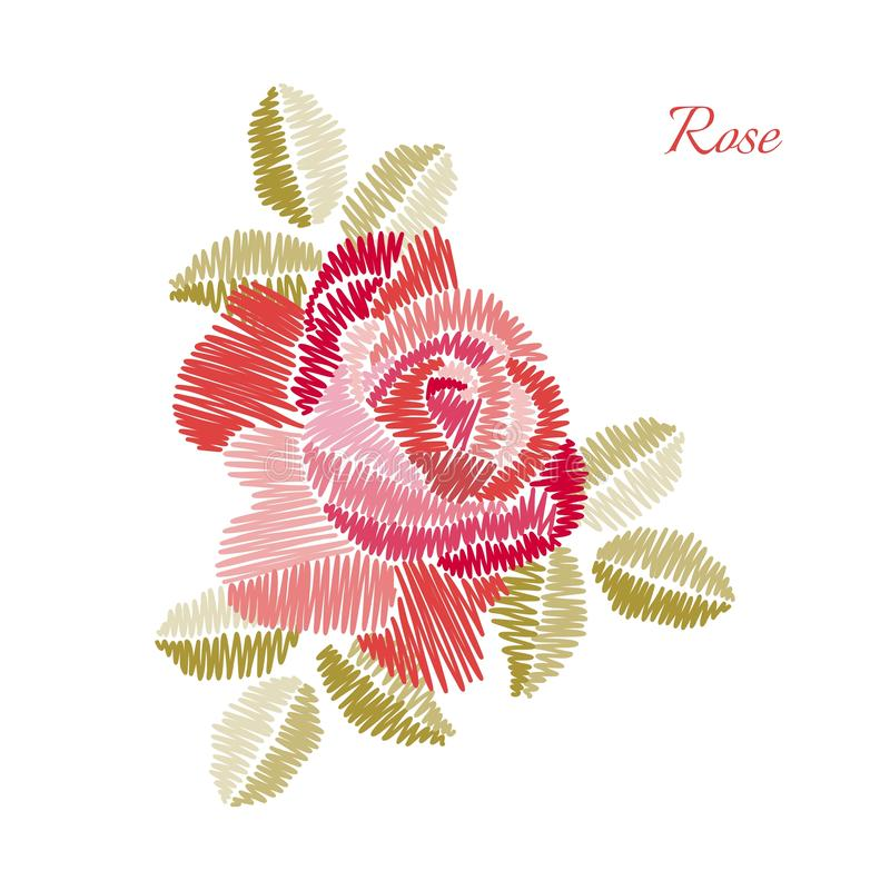 Embroidery. Beautiful rose flower isolated on white background. Fashion design vector illustration