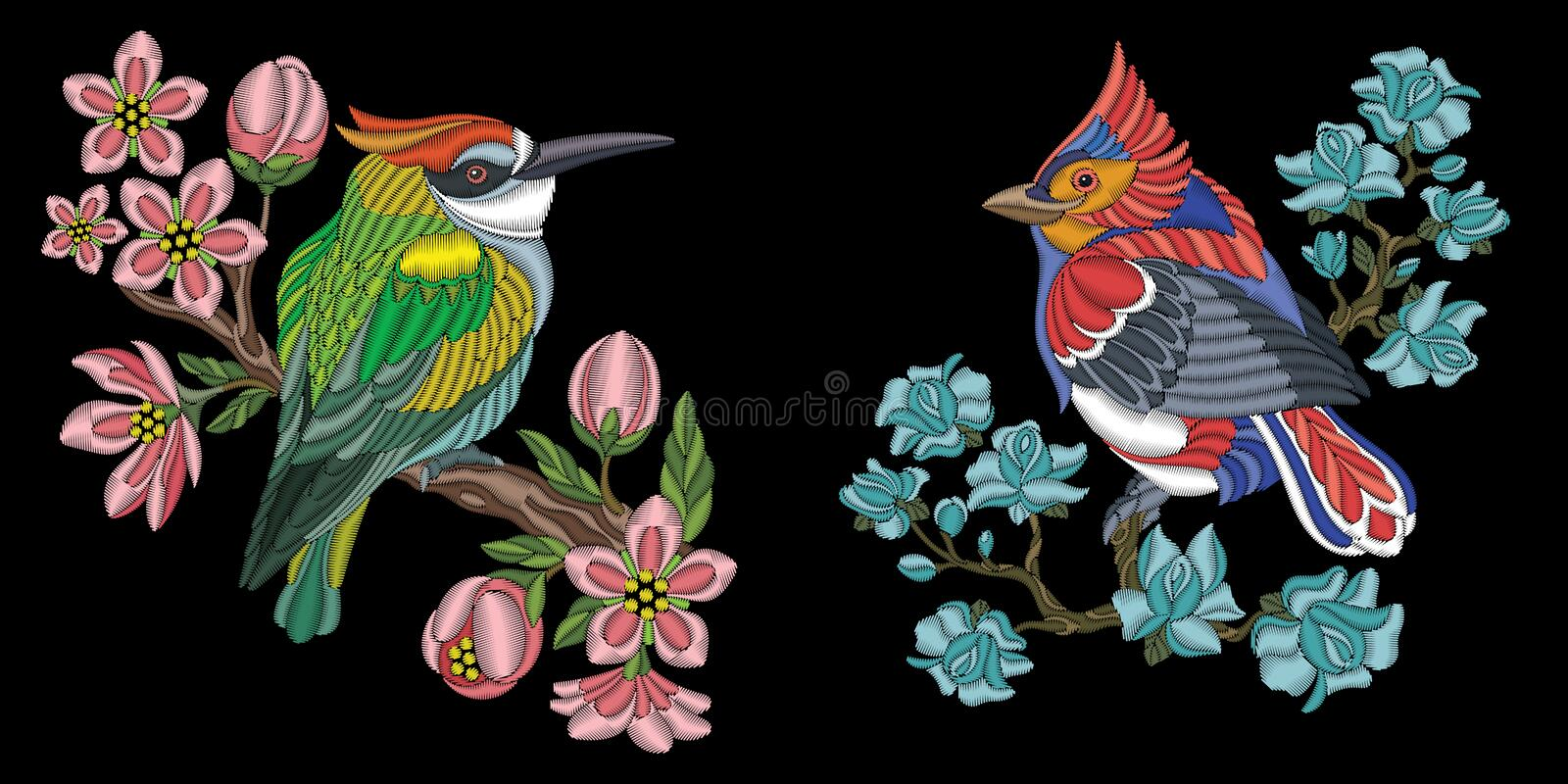 Embroidery birds design royalty free stock images