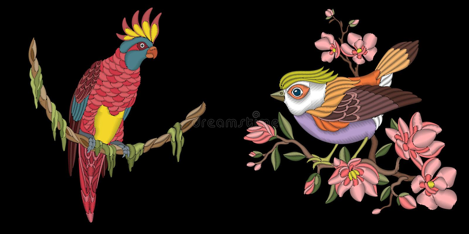 Embroidery birds design stock illustration