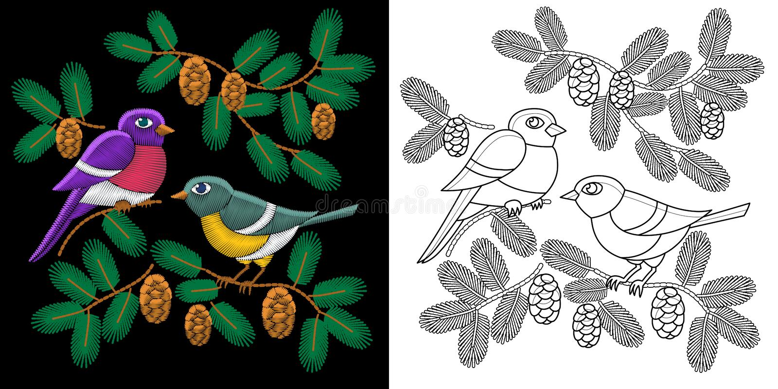 Embroidery birds design stock image