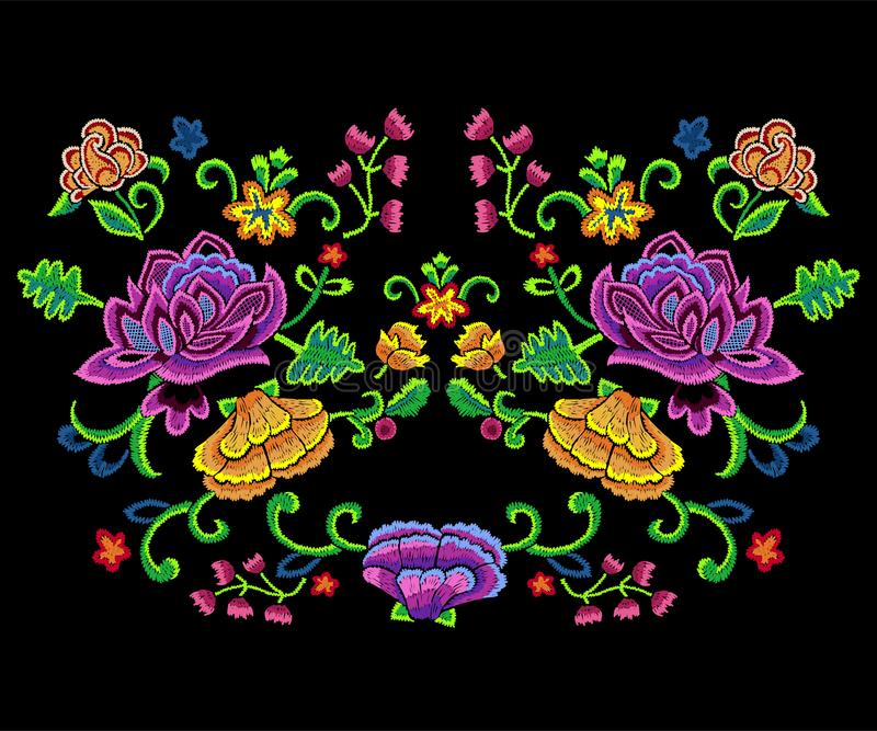 Embroidery botanical trend pattern with colorful simplify flowers. vector illustration