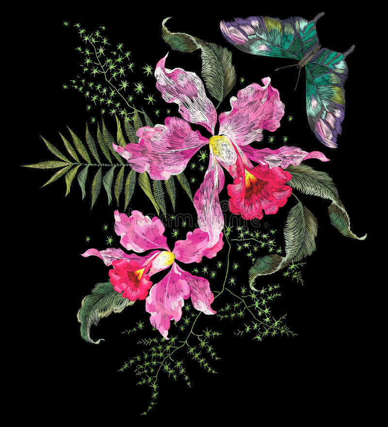 Embroidery brigt trend floral pattern with orchids and butterfly vector illustration