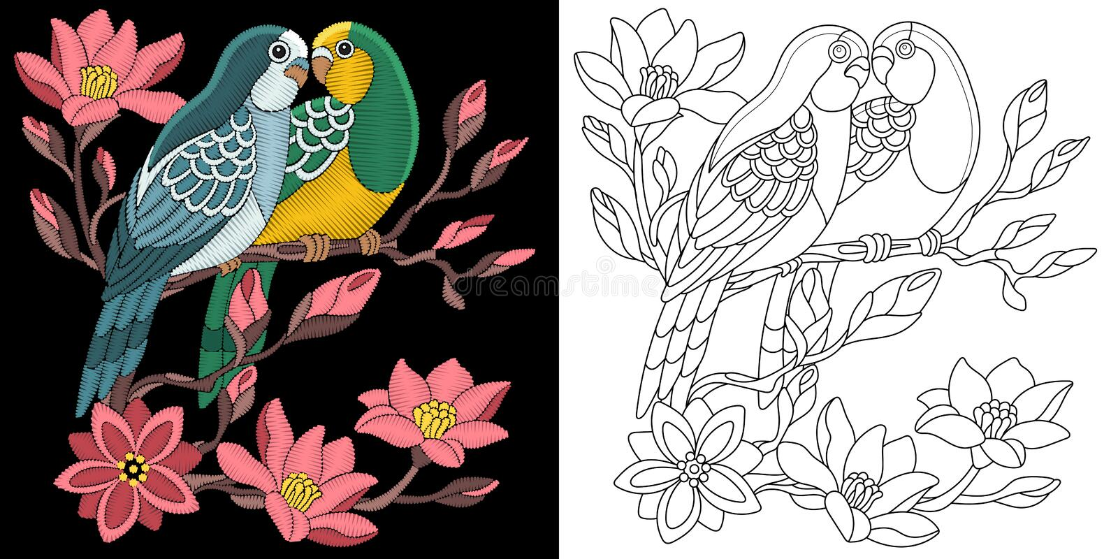 Embroidery budgie parrots design royalty free stock image