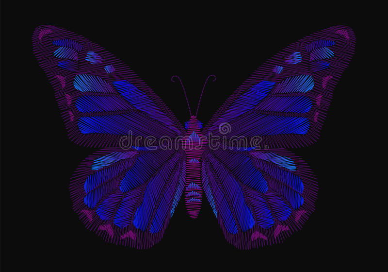 Embroidery butterfly design for clothing. insect vector decoration. vector illustration
