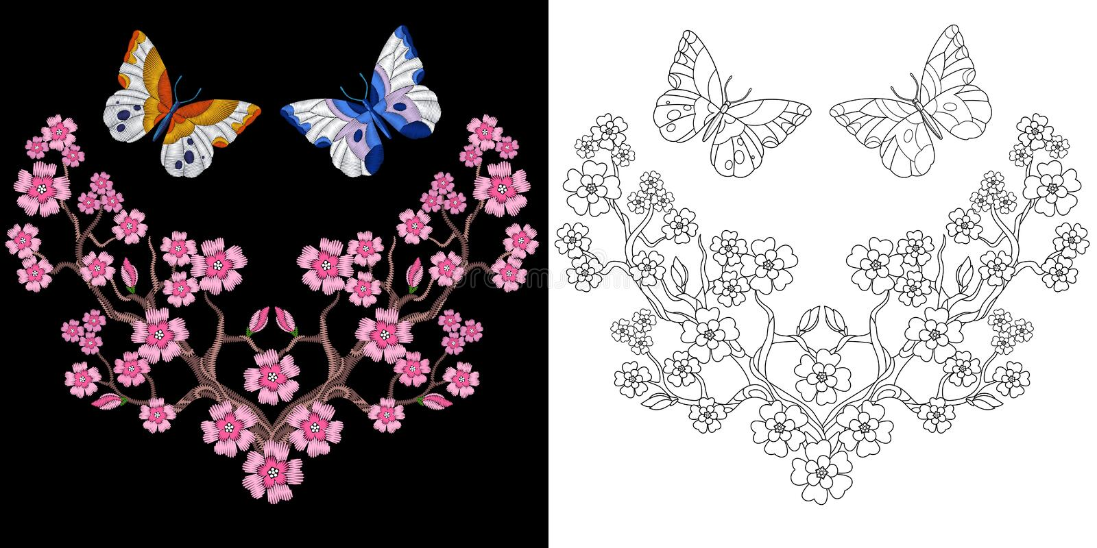 Embroidery butterfly and sakura design royalty free stock image
