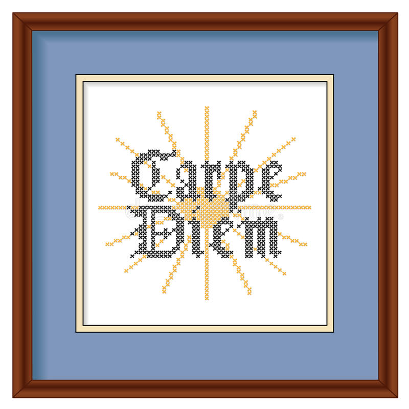 Download Embroidery, Carpe Diem, Cross Stitch, Wood Picture Stock Vector - Image: 41635251