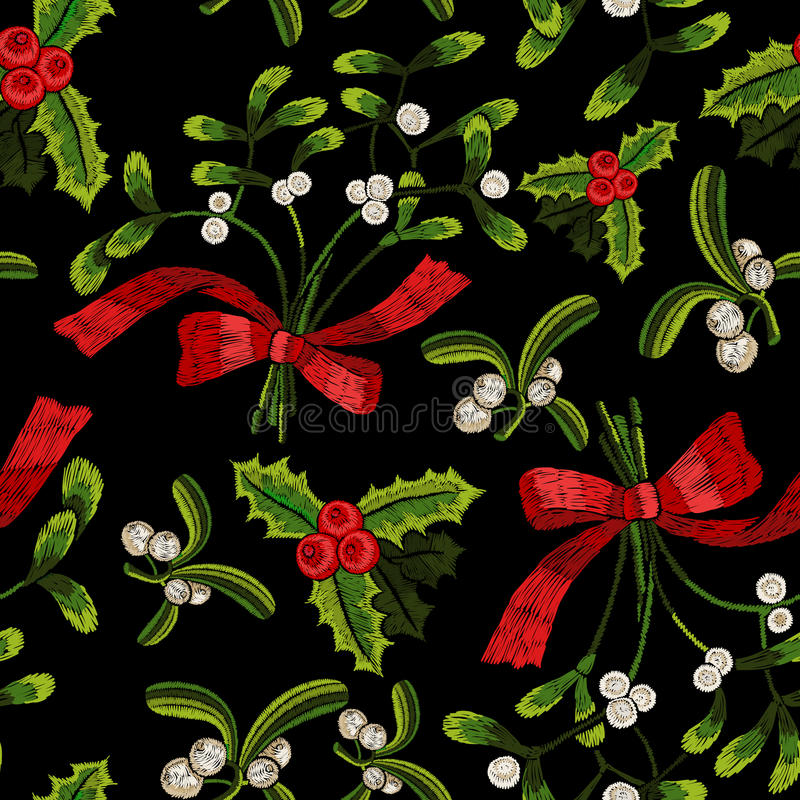 Embroidery christmas seamless pattern with mistletoe. Vector embroidered floral elements for fashion design stock illustration