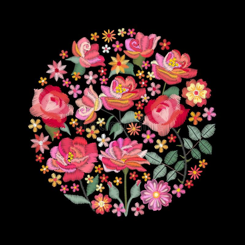 Embroidery circle pattern with beautiful red and pink flowers. Colorful bouquet on black background. Floral vector illustration.  stock illustration