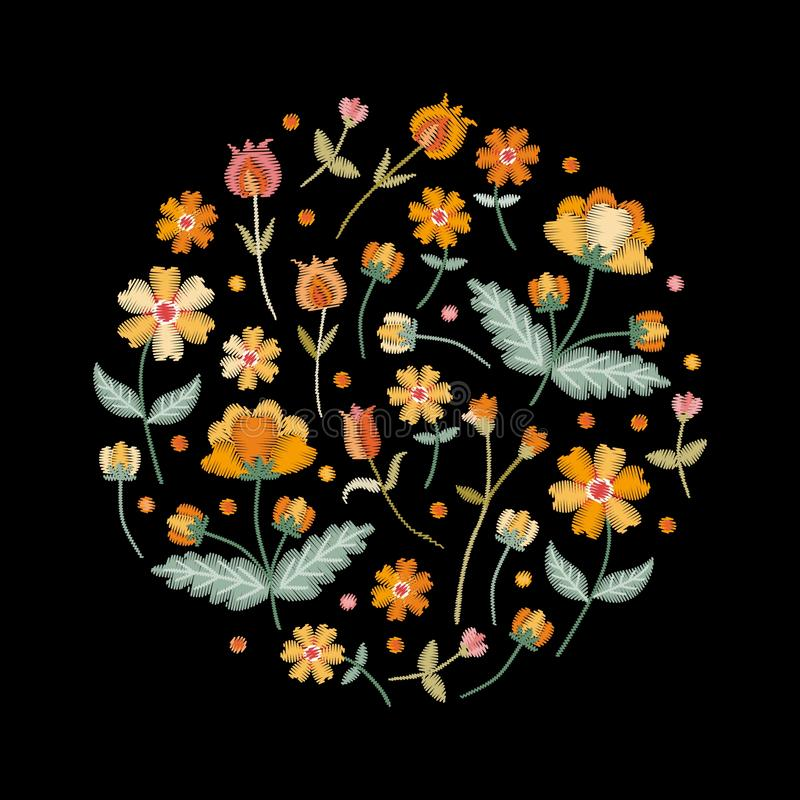 Embroidery circle pattern with beautiful yellow flowers. Colorful bouquet on black background. Floral vector illustration vector illustration