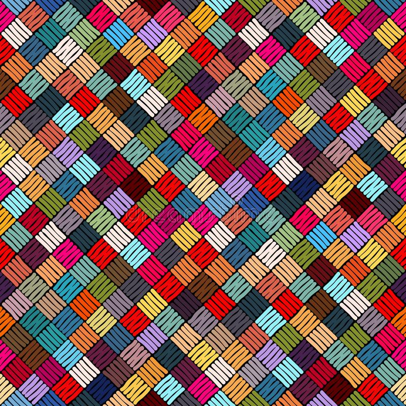 Embroidery or colored fabric pattern texture repeating seamless. Embroidered seamless geometric pattern. Ornament for the carpet stock illustration