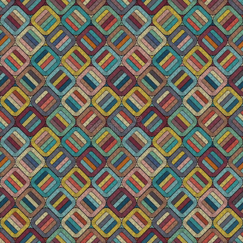 Embroidery or colored fabric pattern texture repeating seamless. Handmade. Ethnic and tribal motifs. Print in the bohemian style royalty free illustration