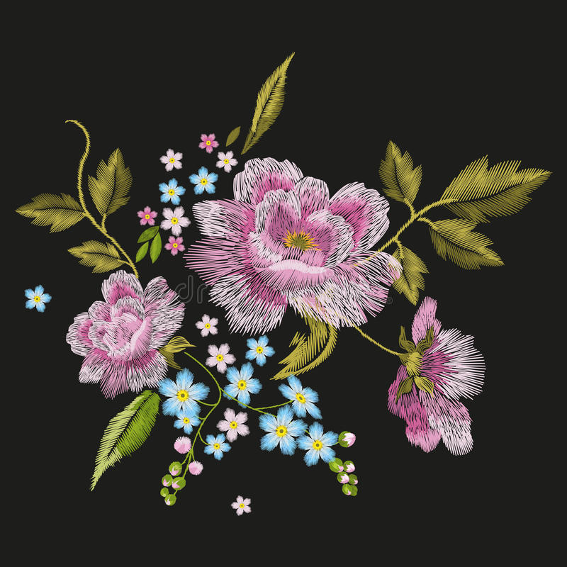 Embroidery colorful floral pattern with dog roses and forget-me-not flowers. stock illustration