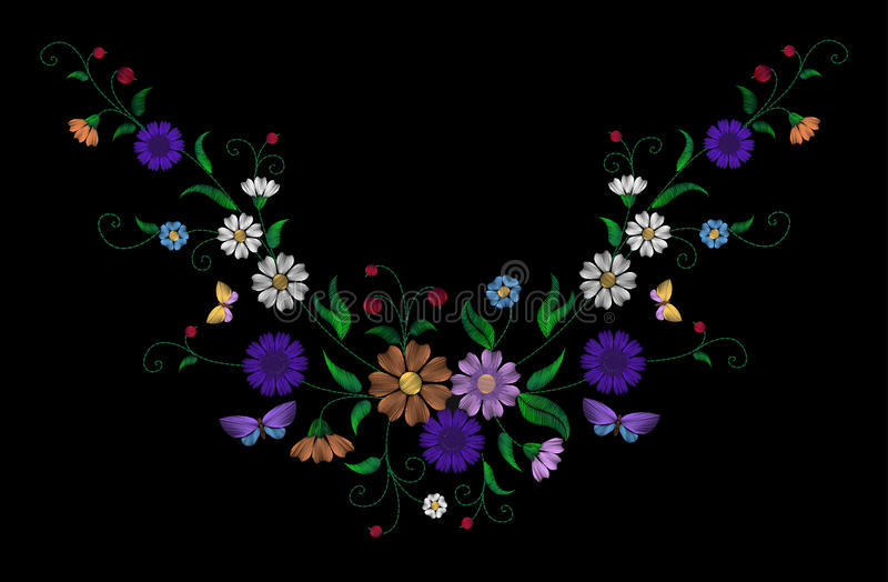 Embroidery colorful floral pattern with dog roses and forget me not flowers. Vector traditional folk fashion ornament on. Black background. illustration royalty free illustration