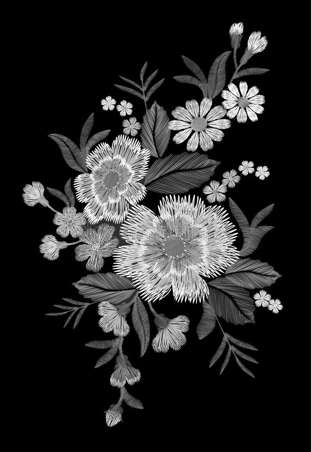 Embroidery colorful floral pattern with dog roses and forget me not flowers. Vector traditional folk fashion ornament on black bac. Kground. illustration vector illustration