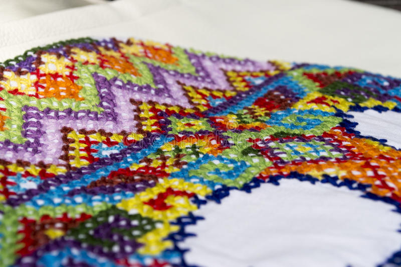 Embroidery colorful thread Navajo ornament stock images