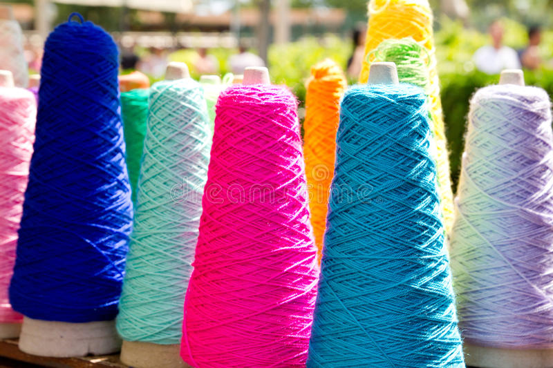 Embroidery colorful thread spools royalty free stock images