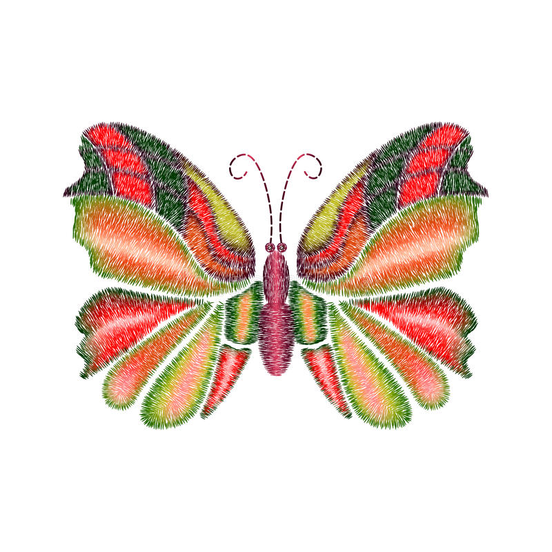 Embroidery colorful tropical butterfly design for clothing. stock illustration
