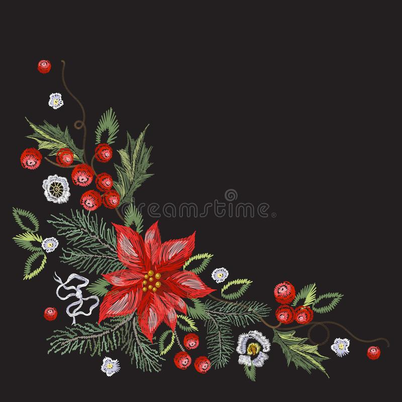 Embroidery corner christmas pattern with red flowers, pine and mistletoe. Vector embroidered new year floral elements for design vector illustration