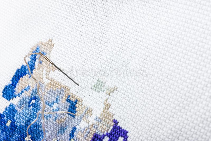 Embroidery and cross stitch accessories stock photo