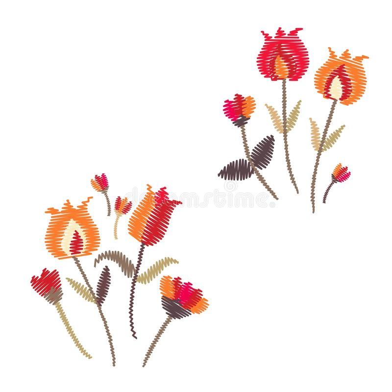 embroidery Duas composições florais isoladas no fundo branco Ramalhetes com flores ilustração royalty free