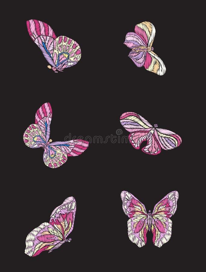 embroidery Elemento bordado do projeto - grupo de 6 borboletas ilustração stock