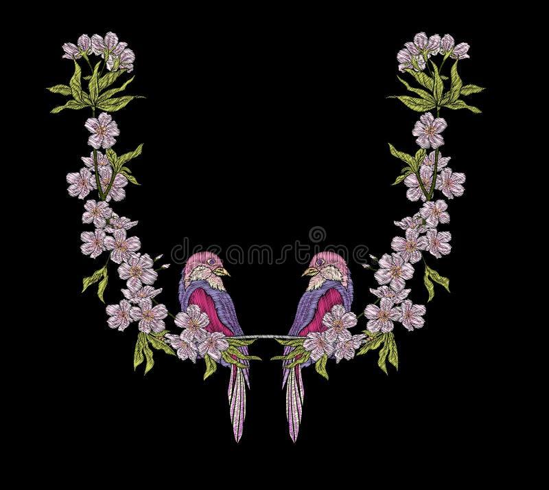 embroidery Elementos bordados do projeto com flores de sakura e ilustração royalty free
