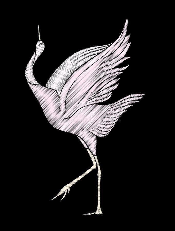 Embroidery. Embroidered design element - bird - crane - in vinta stock illustration
