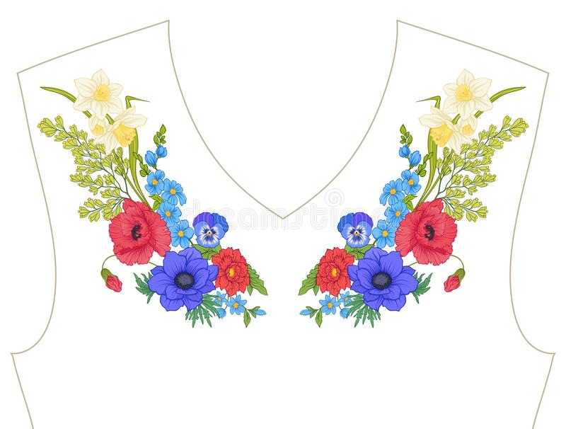 Embroidery. Embroidered design elements with summer bouquet stock illustration
