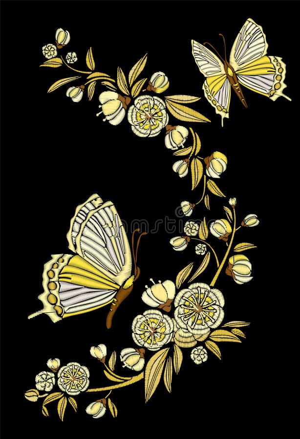 Embroidery ethnic flowers and butterfly, line design fashion wearing. Vector vintage , decorative element for embroidery. Patches and stickers. Goldwork royalty free illustration