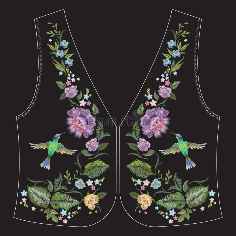 Embroidery ethnic neck line floral pattern with hummingbird and vector illustration