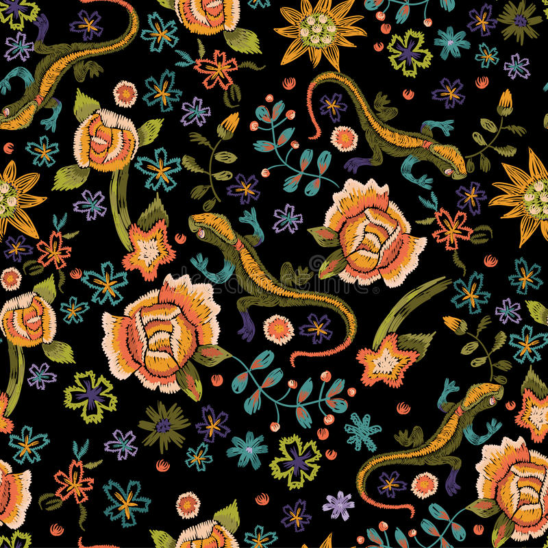 Embroidery ethnic seamless pattern with lizards and flowers. Vector embroidered floral design. royalty free illustration
