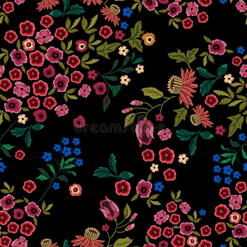 Embroidery ethnic seamless pattern with small wild flowers. stock illustration
