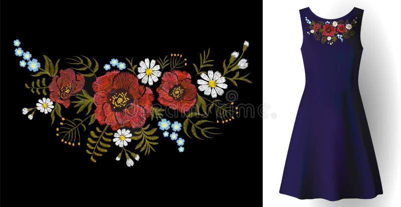 Embroidery field flower arrange necklace patch poppy daisy herbs. Fashion dress decoration woman stitch ornate realistic stock illustration