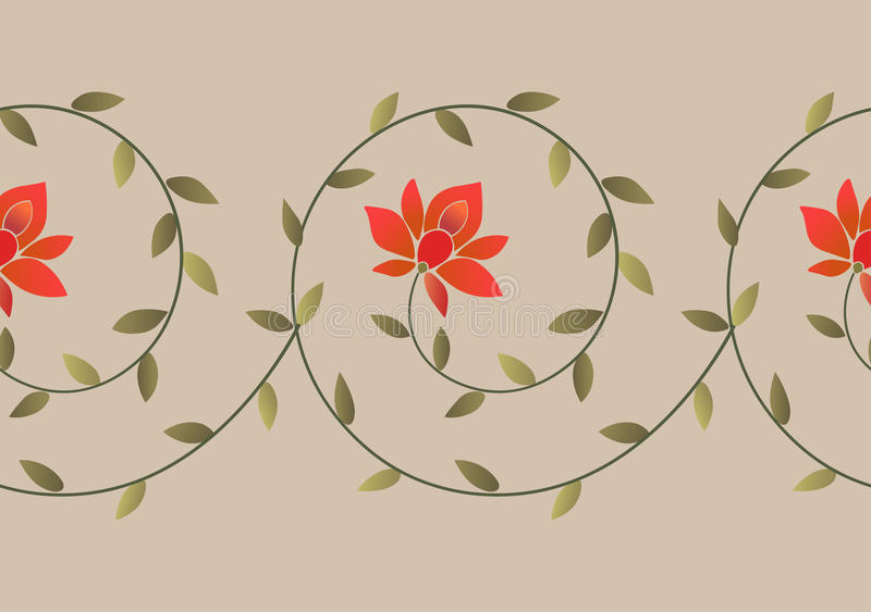 Embroidery floral border pattern stock illustration