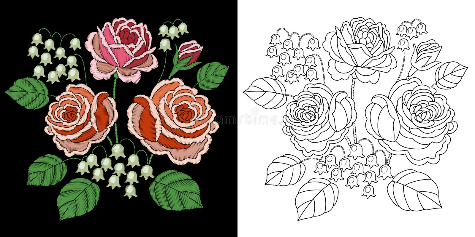 Embroidery floral design royalty free stock images