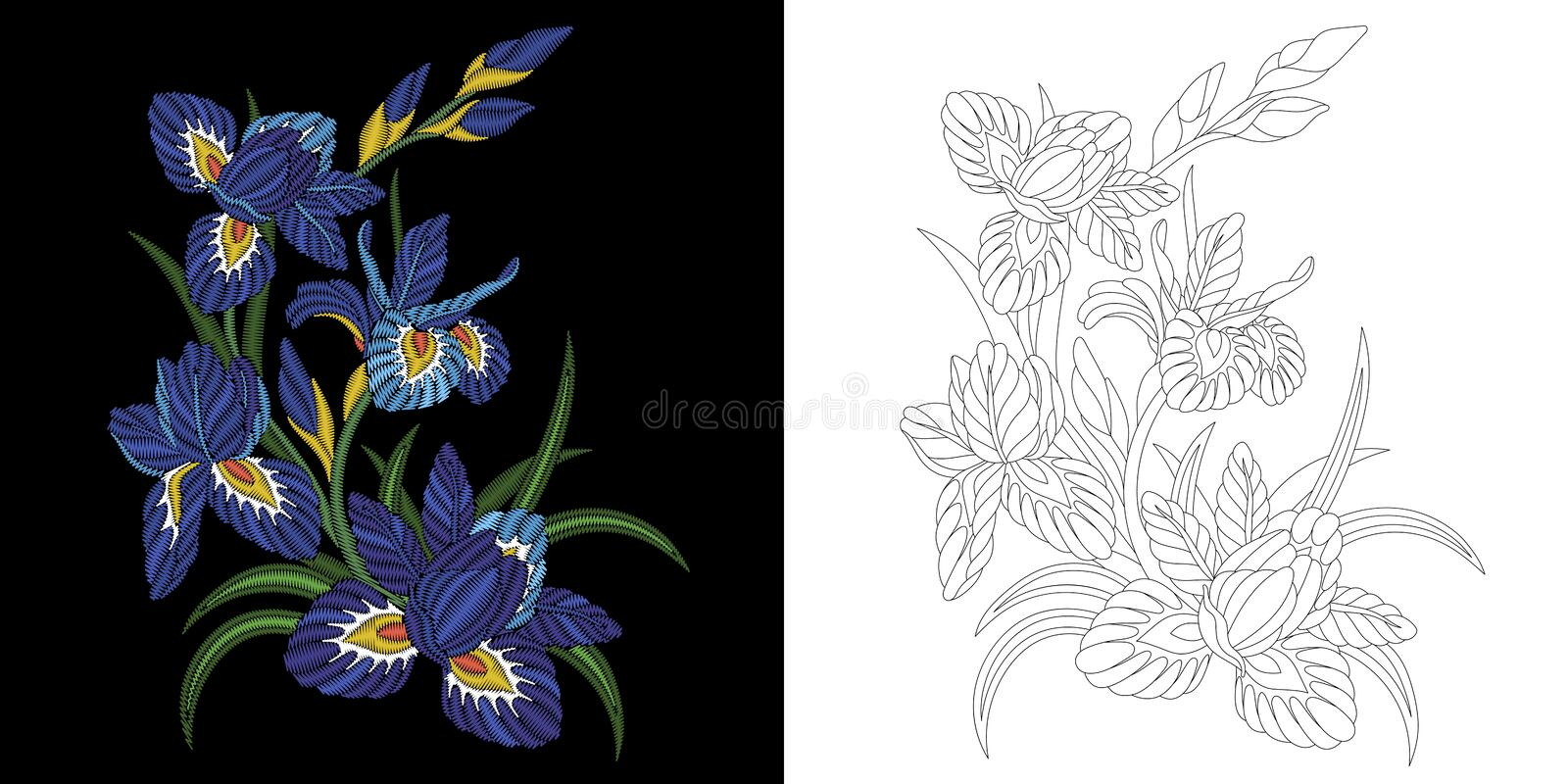 Embroidery floral design royalty free stock photography