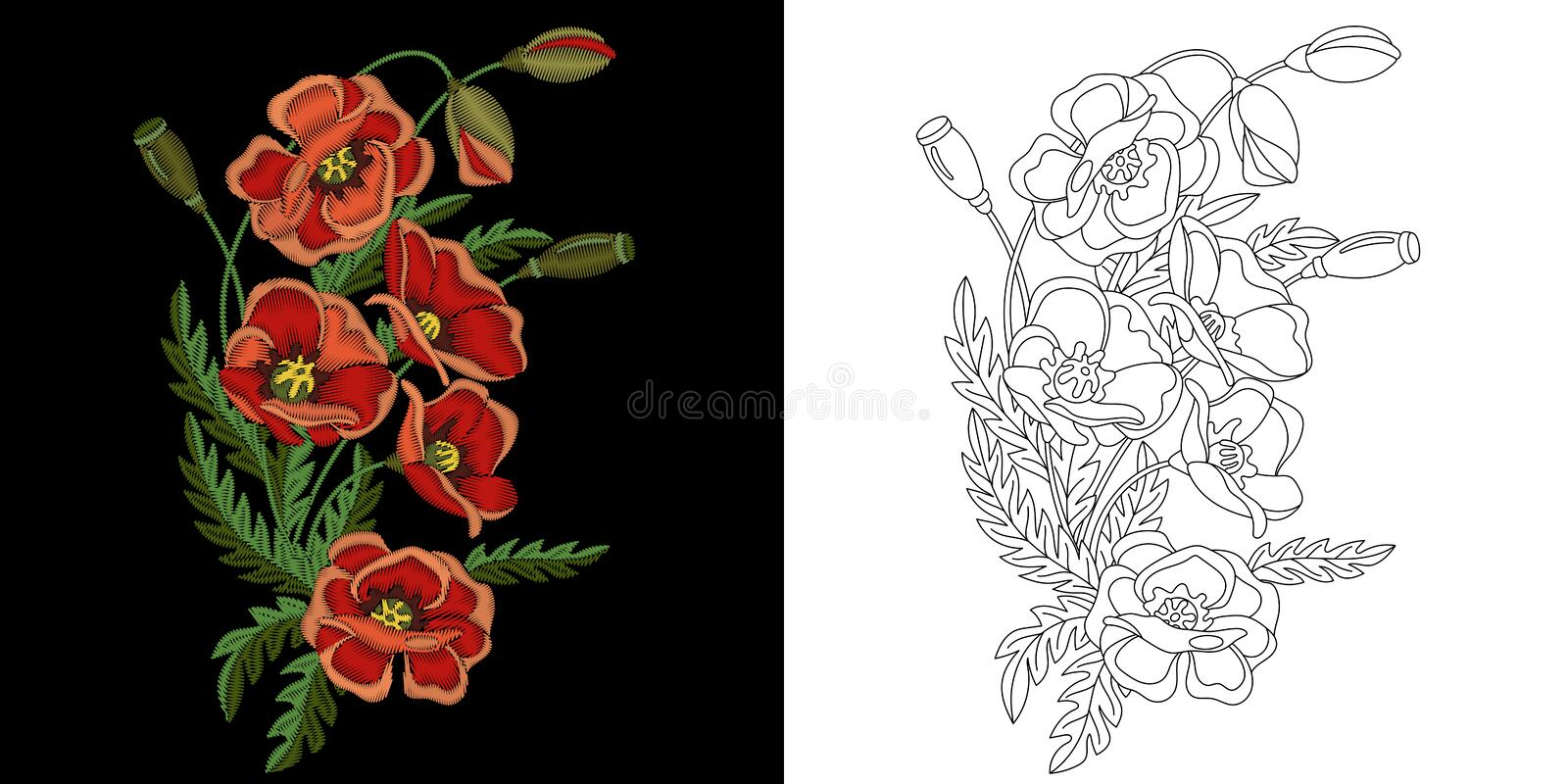 Embroidery floral design stock photography