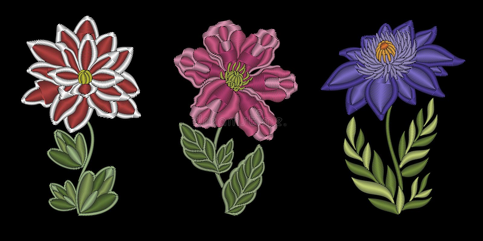 Embroidery floral fashion design royalty free stock image