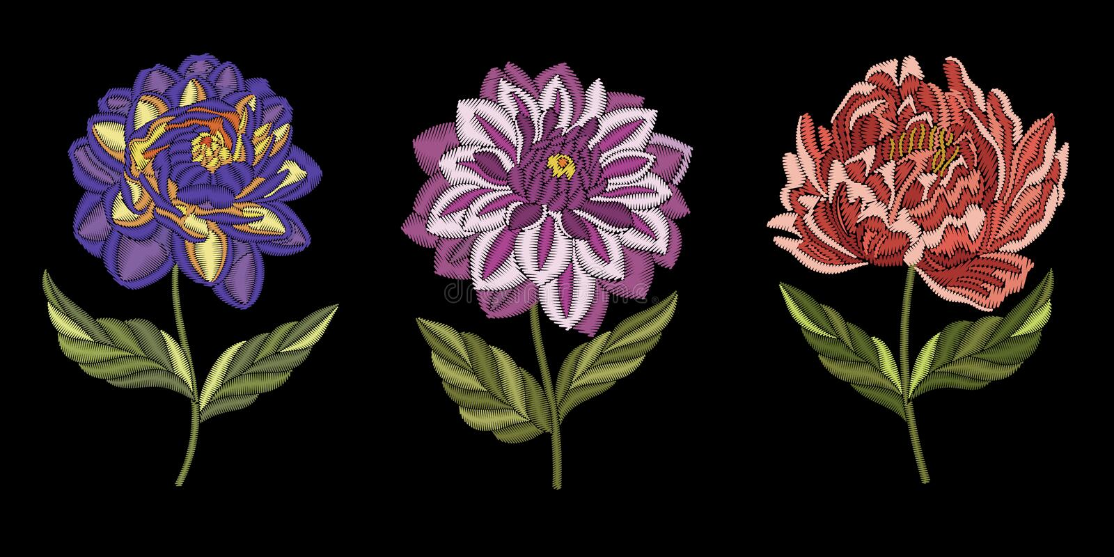 Embroidery floral fashion design royalty free stock photo