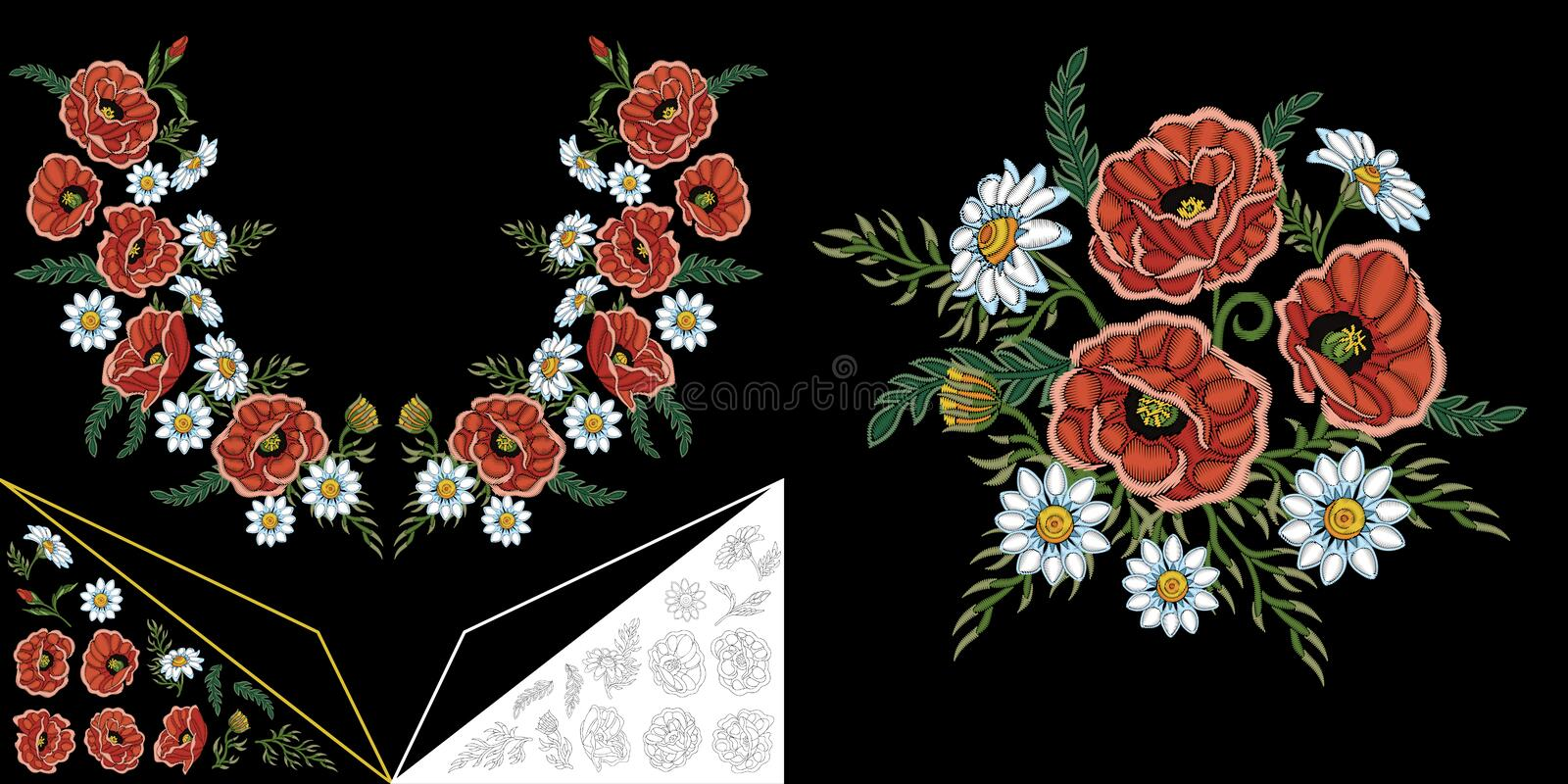 Embroidery floral neckline design stock photography