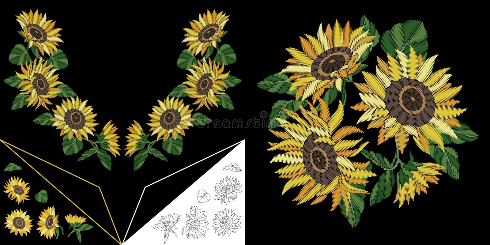 Embroidery floral neckline design stock images