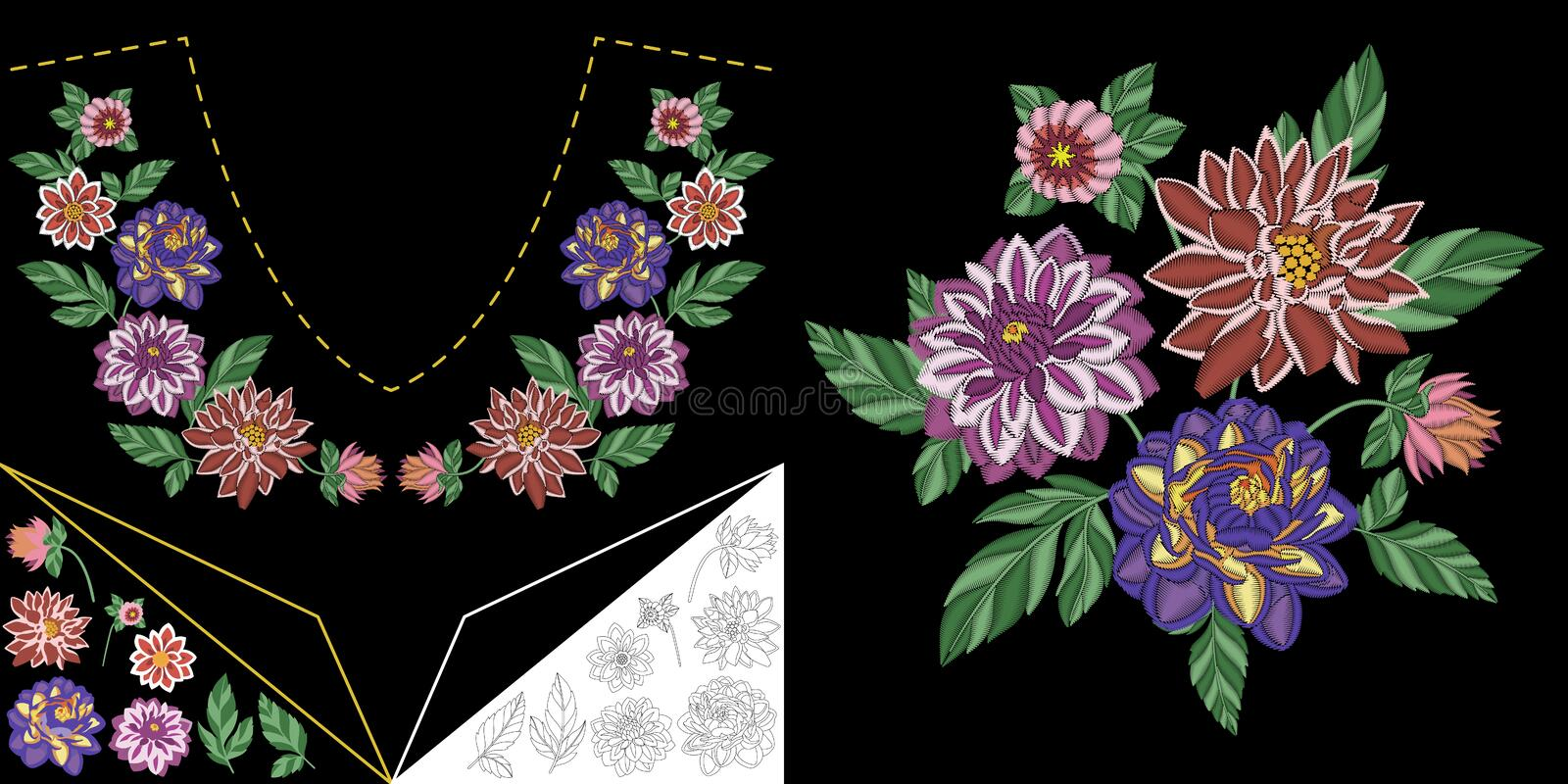 Embroidery floral neckline design stock photo